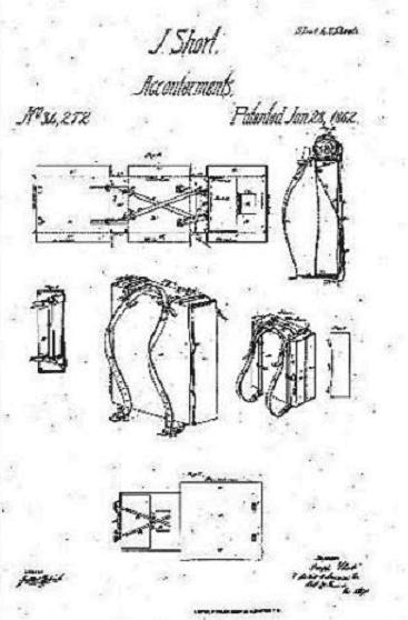 Photo: Joseph Short's patent for his slinging knapsack