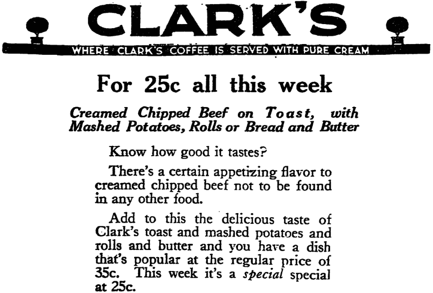 A restaurant ad for chipped beef on toast, Plain Dealer newspaper advertisement 23 January 1922