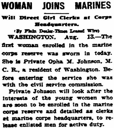 An article about Opha Johnson, Plain Dealer newspaper article 14 August 1918