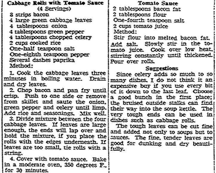 A recipe for cabbage rolls, Register-Republic newspaper article 6 February 1948