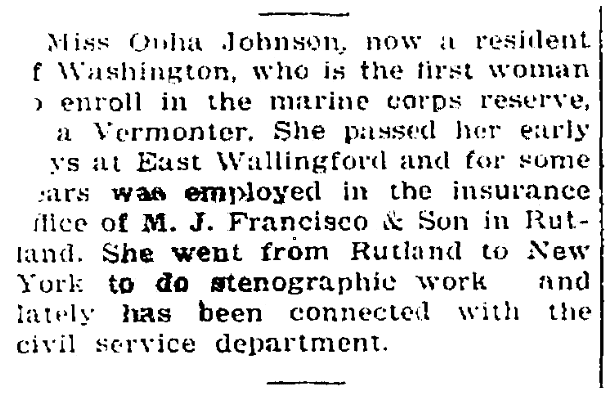An article about Opha Johnson, St. Albans Daily Messenger newspaper article 17 August 1918