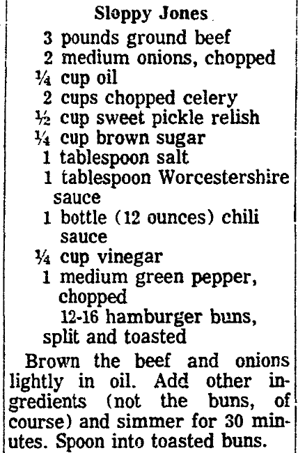 A recipe for sloppy joes, State Times Advocate newspaper article 26 August 1971