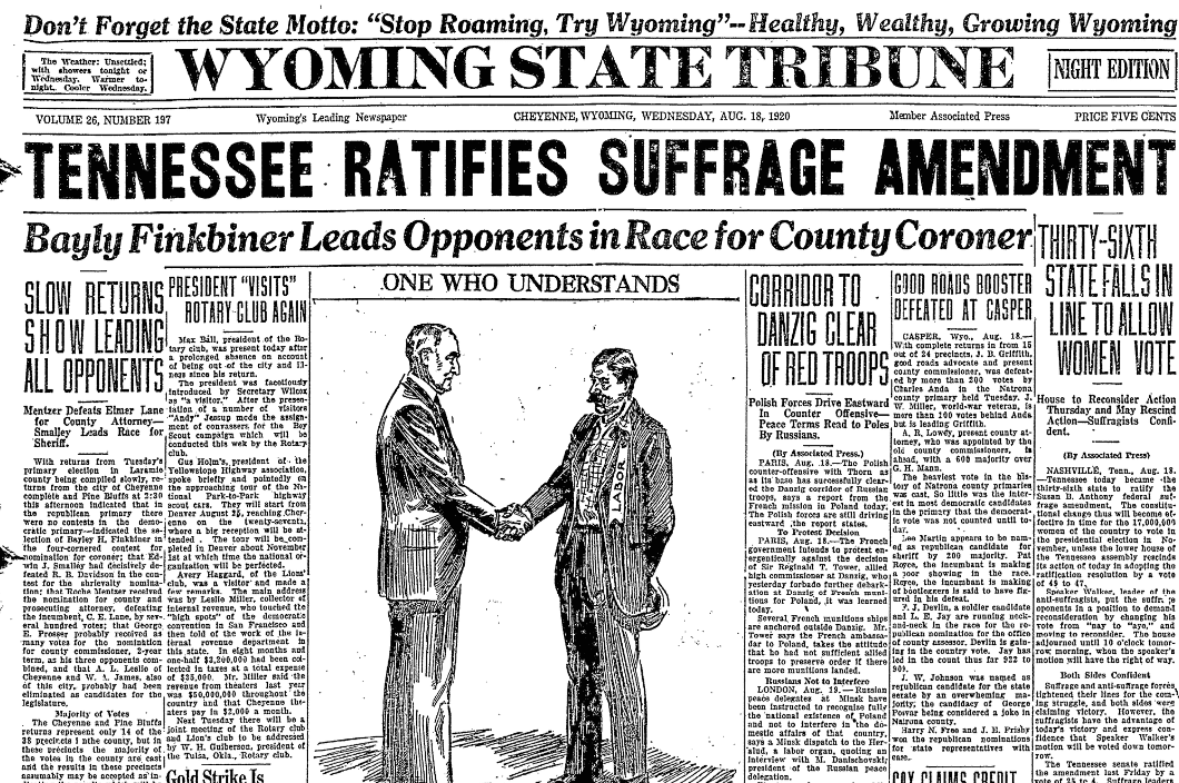 An article about the 19th Amendment, Wyoming State Tribune newspaper article 18 August 1920