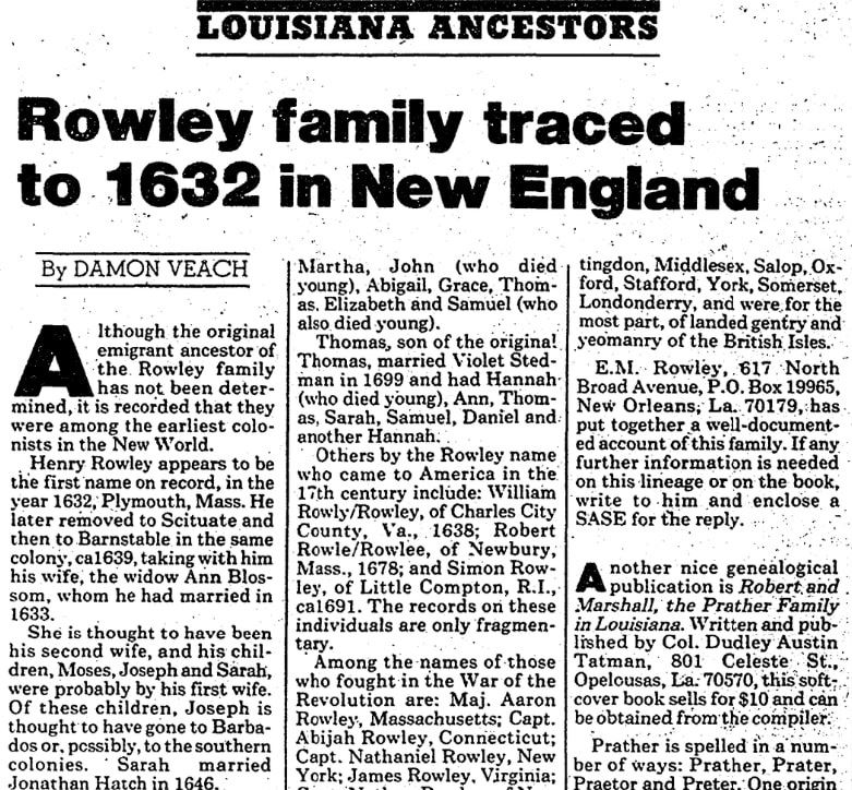 An article about the Rowley family line, Advocate newspaper article 7 November 1982