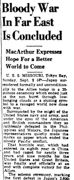 An article about the surrender of Japan in WWII, Augusta Chronicle newspaper article 2 September 1945, detailing the surrender ceremony