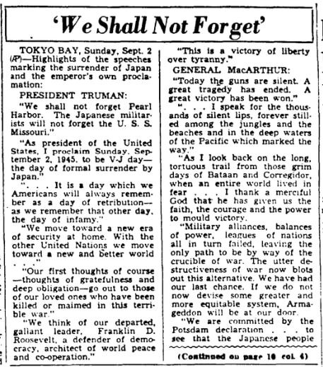 An article about the surrender of Japan in WWII, Augusta Chronicle newspaper article 2 September 1945, excerpts from the speeches