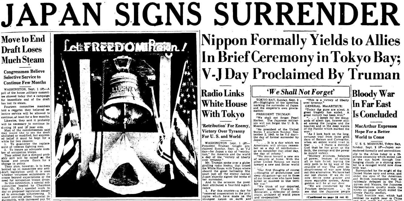 An article about the surrender of Japan in WWII, Augusta Chronicle newspaper article 2 September 1945