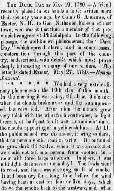 An article about New England's 1780 Dark Day, Barre Patriot newspaper article 4 February 1853