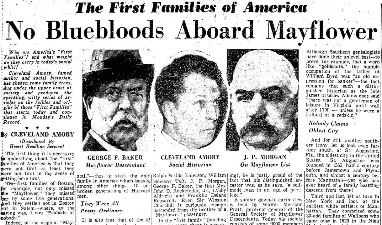 An article about the Mayflower Pilgrims, Boston American newspaper article 28 September 1958