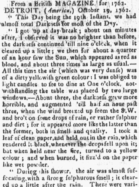 "An article about a Detroit, Michigan, ""Dark Day,"" Boston Gazette newspaper article 29 May 1780"