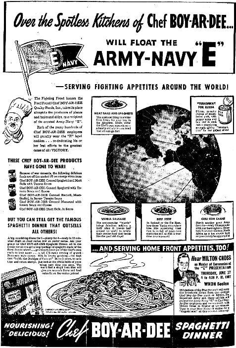 An article about Chef Boyardee, Boston Herald newspaper article 17 June 1943