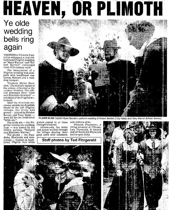 An article about the Mayflower Pilgrims, Boston Herald newspaper article 11 July 1986