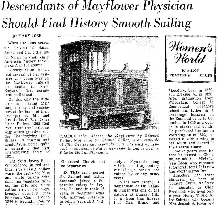 An article about the Mayflower passengers and their descendants, Columbus Dispatch newspaper article 23 November 1967
