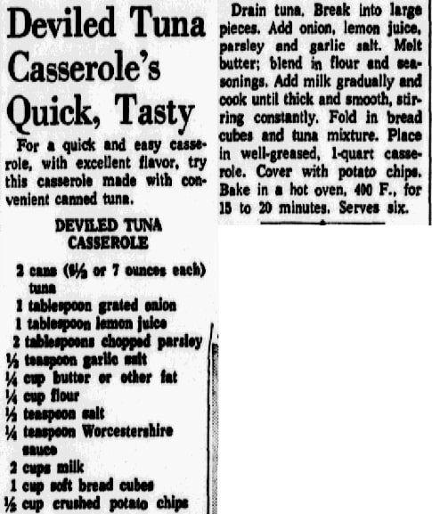 A recipe for tuna casserole, Dallas Morning News newspaper article 4 April 1968