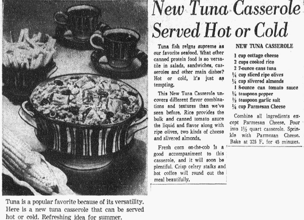 A recipe for tuna casserole, Dallas Morning News newspaper article 21 May 1964
