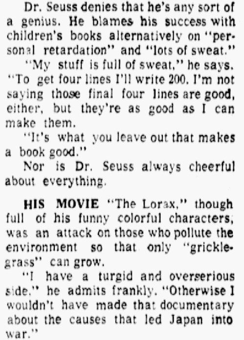 An article about Dr. Seuss, Dallas Morning News newspaper article 14 September 1974