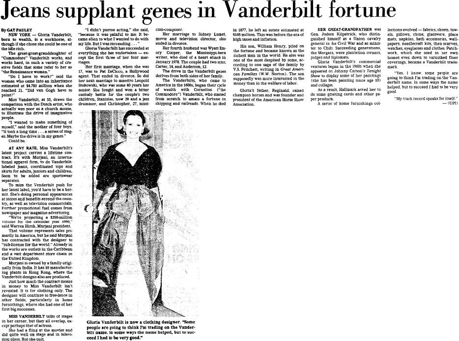 An article about Gloria Vanderbilt, Dallas Morning News newspaper article 30 September 1979