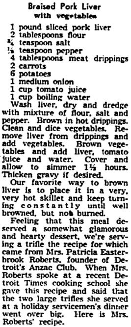 A pork liver recipe, Detroit Times newspaper article 22 January 1943