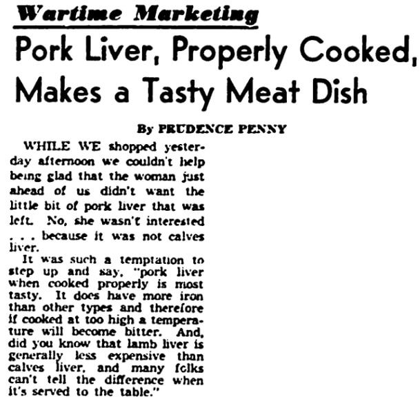 An article about pork liver, Detroit Times newspaper article 22 January 1943