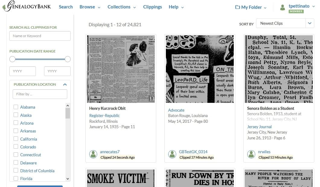 Screenshot: GenealogyBank's Community Clippings Page