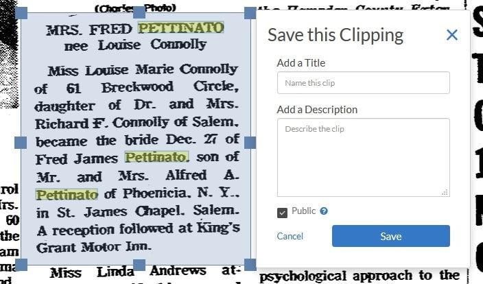 Screenshot showing feature on GenealogyBank allowing saved clippings to be made public
