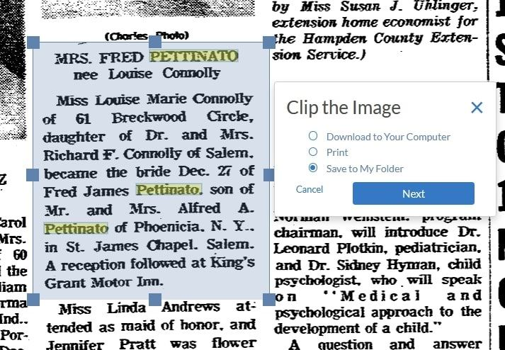Screenshot: showing the feature on GenealogyBank for saving clippings
