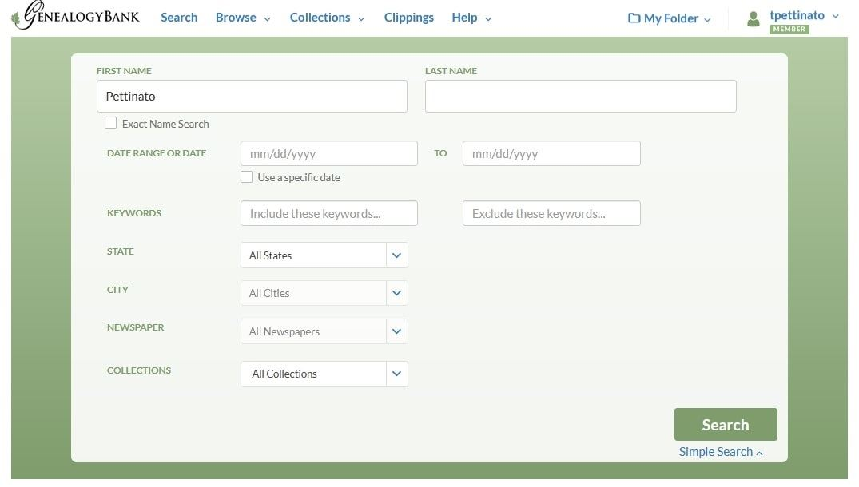 "Screenshot: GenealogyBank search on the surname ""Pettinato"""