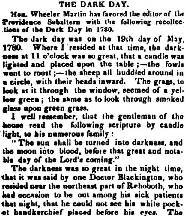 An article about New England's 1780 Dark Day, Hampshire Gazette newspaper article 22 December 1830