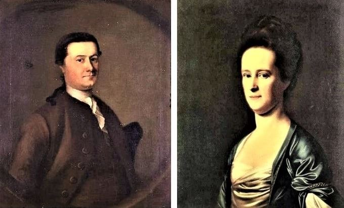 Illustration: portraits of Cleveland Amory's ancestors painted by Joseph Blackburn: Richard Fisher Amory (1722-1784), son of Thomas Amory (1682-1728) and Rebecca Holmes (1701-1770); and his wife Elizabeth Coffin (1743-1823), daughter of William Coffin (1669-1775) and Ann Holmes (1669-1774)