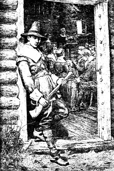 "Illustration: ""At the Church Door: A Puritan Thanksgiving,"" drawn by W. H. Low for an 1882 issue of Harper's Weekly"