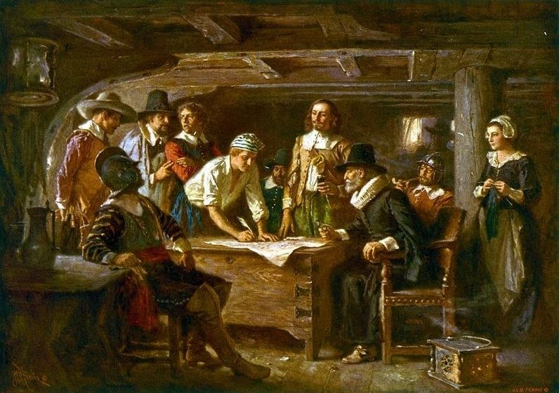"""Illustration: """"The Mayflower Compact, 1620,"""" a painting by Jean Leon Gerome Ferris, 1899"""