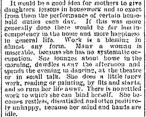 An article about housework, Jersey Journal newspaper article 19 August 1892