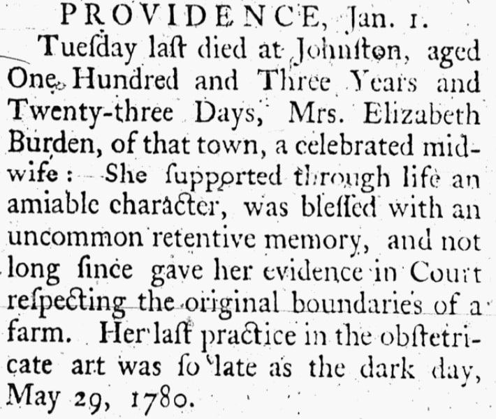 An obituary for Elizabeth Burden, Litchfield Monitor newspaper article 4 January 1785