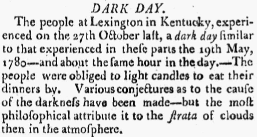 "An article about a Lexington, Kentucky, ""Dark Day,"" Massachusetts Centinel newspaper article 20 January 1790"