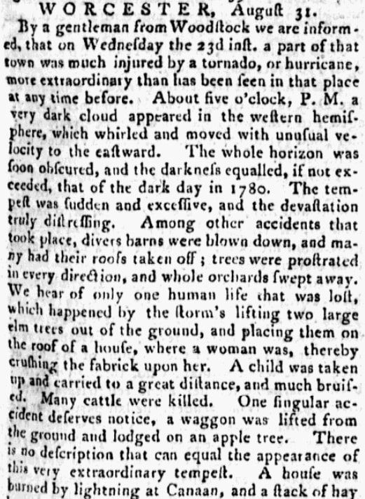 "An article about a New England ""Dark Day,"" Massachusetts Gazette newspaper article 1 September 1786"