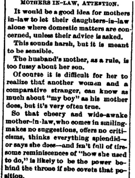An article about mothers-in-law, Middletown Transcript newspaper article 10 August 1895