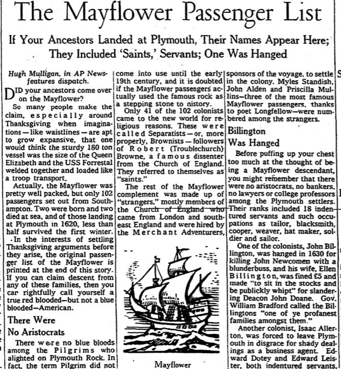An article about the Mayflower Pilgrims, Milwaukee Journal newspaper article 27 November 1957