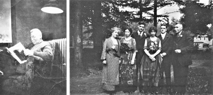 "Photo: (left) Ruthie Stearns's Great Grandfather Russell Fremont Hazard (1858-1930) reading a book; (right) wedding of Genevieve Sayre Hazard to Charles Elmer Holmes 22 June 1920 in Plainfield, New Jersey, labeled: ""Mrs. Moran, Dorcas Mustgrave Hazard Cooper, Charles Elmer Holmes, Genevieve Sayre Hazard Holmes, Bertie Edmund Holmes (brother of Charles), and Russell Fremont Hazard"