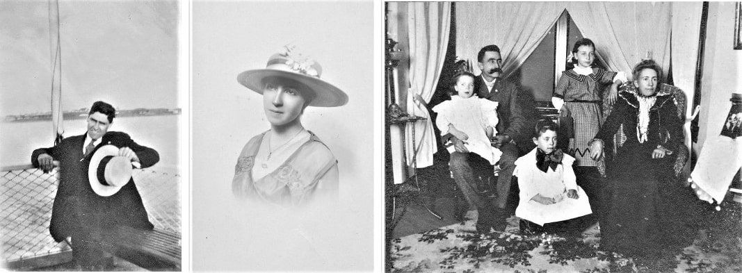 Photo: (left) Ruthie Stearns's Grandfather Charles Elmer Holmes; (middle) Grandmother Genevieve Sayre Hazard Homes; (right) Great grandfather Russell Fremont Hazard (1858-1930) and Ella Sayre Hazard (1857-1904) with daughters Genevieve, Dorcas and Russella