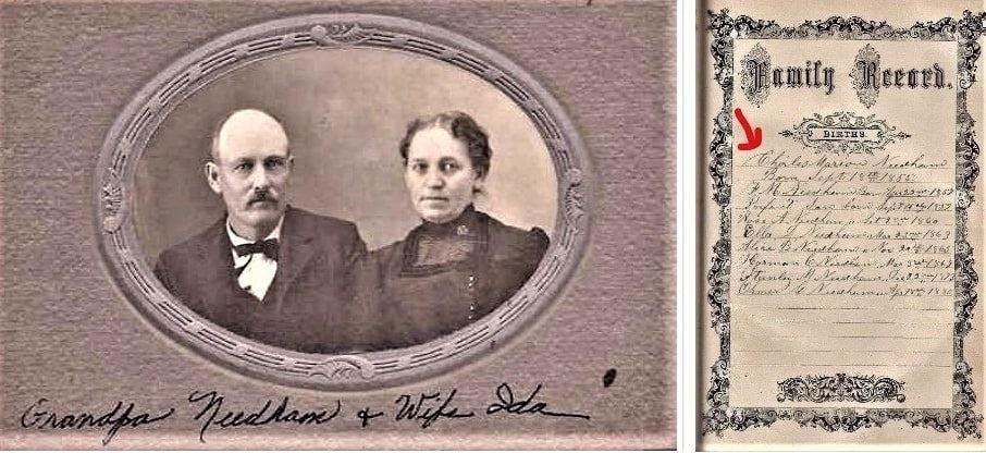 Montage: Charles Marion Needham and Ida Jane Croshaw (1855-1917); family Bible recording birth of Charles Needham on 15 September 1855