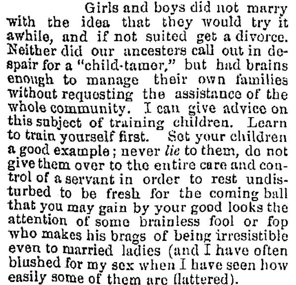 Advice column, Oregonian newspaper article 7 July 1879