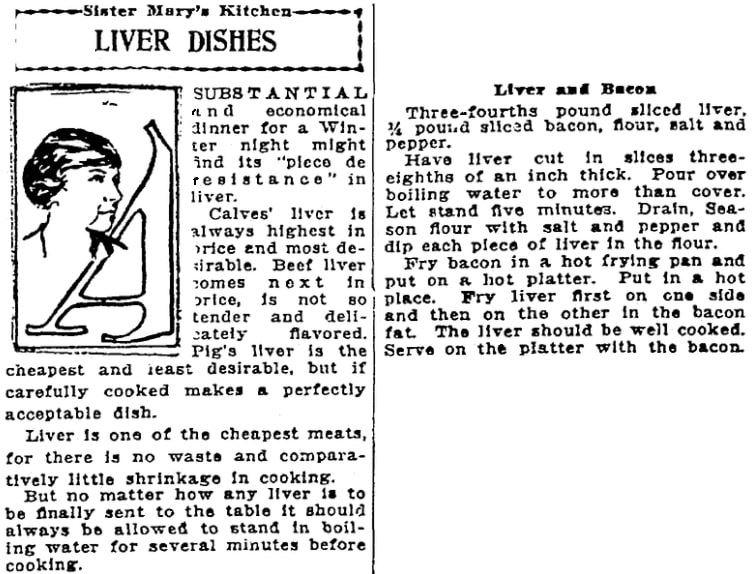 A liver recipe, Patriot newspaper article 24 January 1922