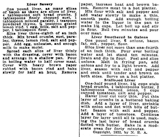 Liver recipes, Patriot newspaper article 24 January 1922