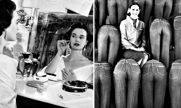 "Photo: Gloria Vanderbilt, photo of her and her jeans ad -- from ""Gloria Vanderbilt -- Blue Jeans Fit for the Masses."" Permission to publish: Sally Edelstein."