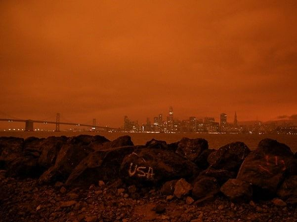 Photo: an all-day red sky over San Francisco, California, due to the raging wildfires on 9 September 2020. Credit: Misti Layne (https://www.mistilayne.com/)
