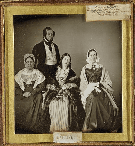 "Photo: ""Emlen Cresson, His Mother Sarah Emlen Cresson, His Wife Priscilla Pritchett Cresson, and His Mother-in-Law Mrs. Edith Hatten Pritchett,"" c. 1844"
