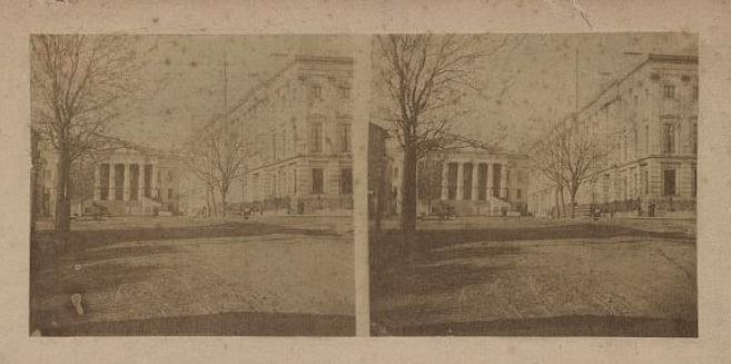 "Photo: ""West Front of General Post Office, with South Portico of Patent Office,"" Washington, D.C., stereo photo, 1859"