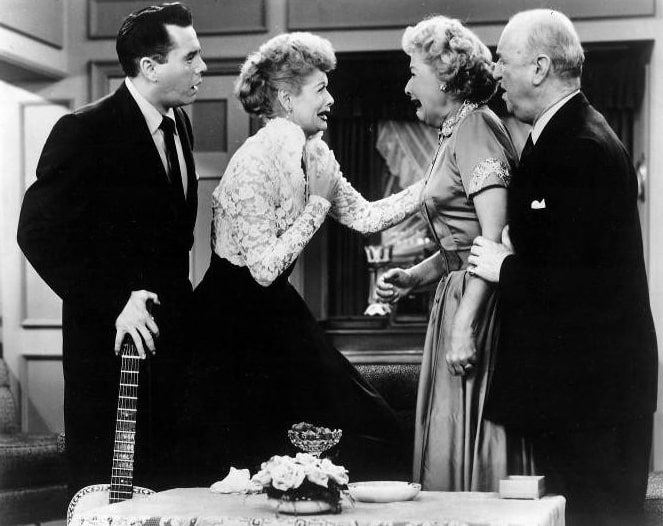 "Photo: Desi Arnaz, Lucille Ball, Vivian Vance, and William Frawley from the 14 November 1955 episode of I Love Lucy, ""Face to Face"""