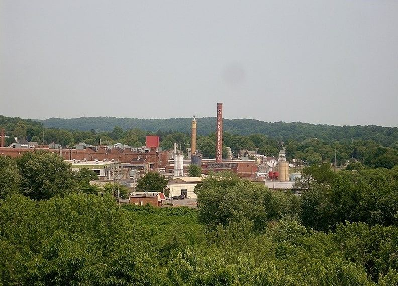 Photo: the Chef Boyardee factory in Milton, Pennsylvania, as seen from across the West Branch Susquehanna River at Central Oak Heights