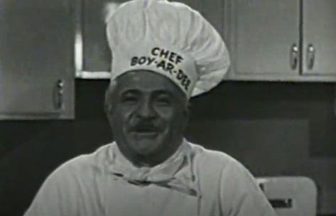 "Photo: ""Chef Boyardee"" (Ettore Boiardi); a screenshot from a 1953 commercial for Chef Boyardee Spaghetti Dinner"